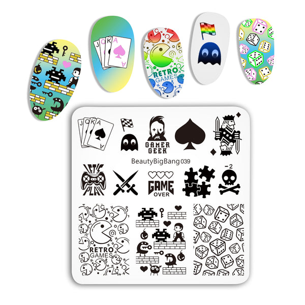 Nail Template Game Theme  Nail Stamping Plates BBBS-039