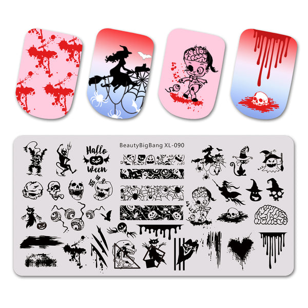 Ghost Spider Pattern Halloween Nail Art Stamping Plate BBBXL-090
