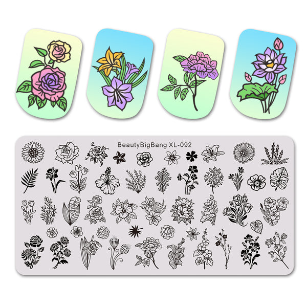 Flower Leaves Plants Nail Art Stamping Plates BBBXL-092