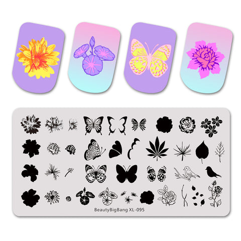 Flower Plants Leaves Nail Art Stamping Plates BBBXL-095