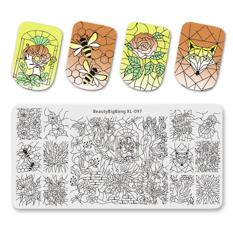 Flower Butterfly Mixed Pattern Nail Stamping Plates BBBXL-097