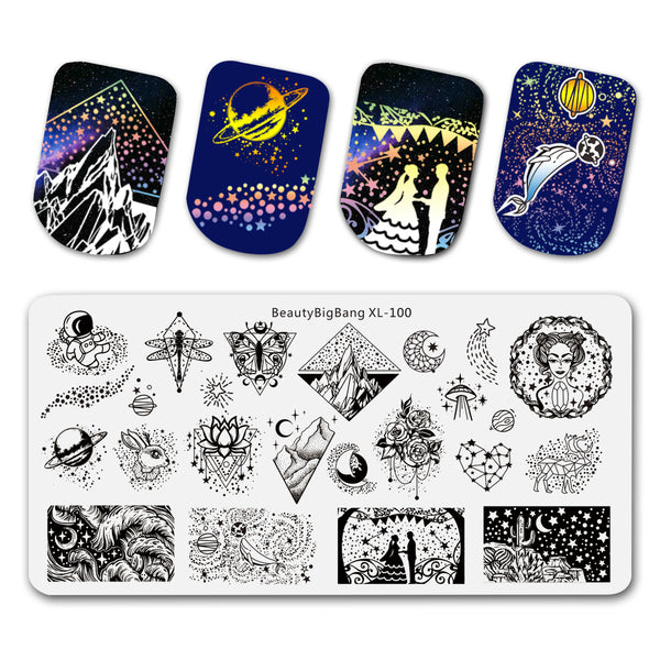 Star Moon Points Design Nail Stamping Plates BBBXL-100