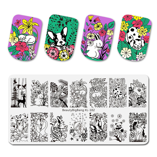 Flower Animal Mixed Pattern Nail Stamping Plates BBBXL-102