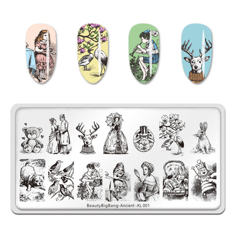 Ancient People and Animals Nail Stamping Plate Manicure Tool BeautyBigBang BBBXL-001