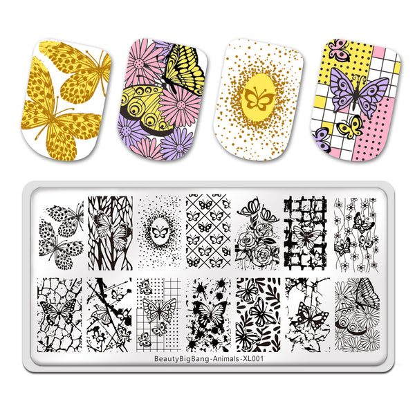 Rectangle Nail Art Stamping Plates Manicure Template Image Plates Animal Butterfly Flower Lines Stamp Plate Print Stencil BeautyBigBang BBBXL-001