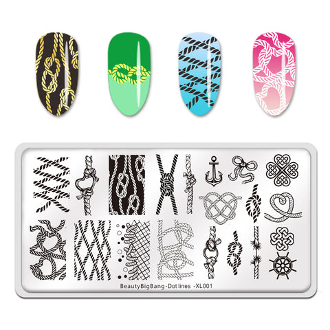 Template Leopard Dot Lines Rope Geometric Nail Art Rectangle Stainless Steel Stamping Plate BEAUTYBIGBANG BBBXL-001