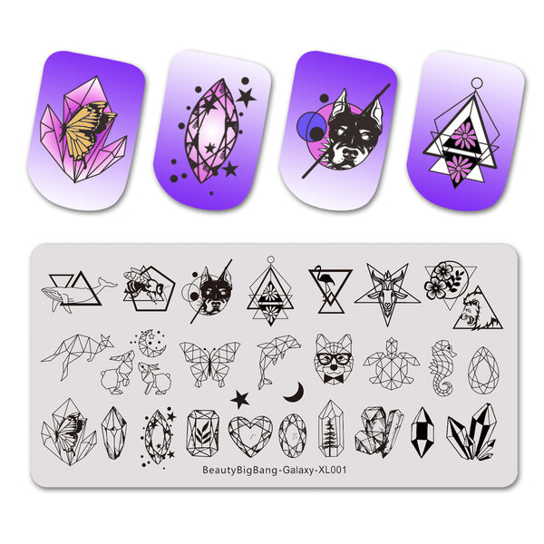 Galaxy Geometric Moon Star Rectangle Stainless Steel Stamping Plate Template Leopard Animals Crystal Nail Art Image Print BEAUTYBIGBANG BBBXL-001