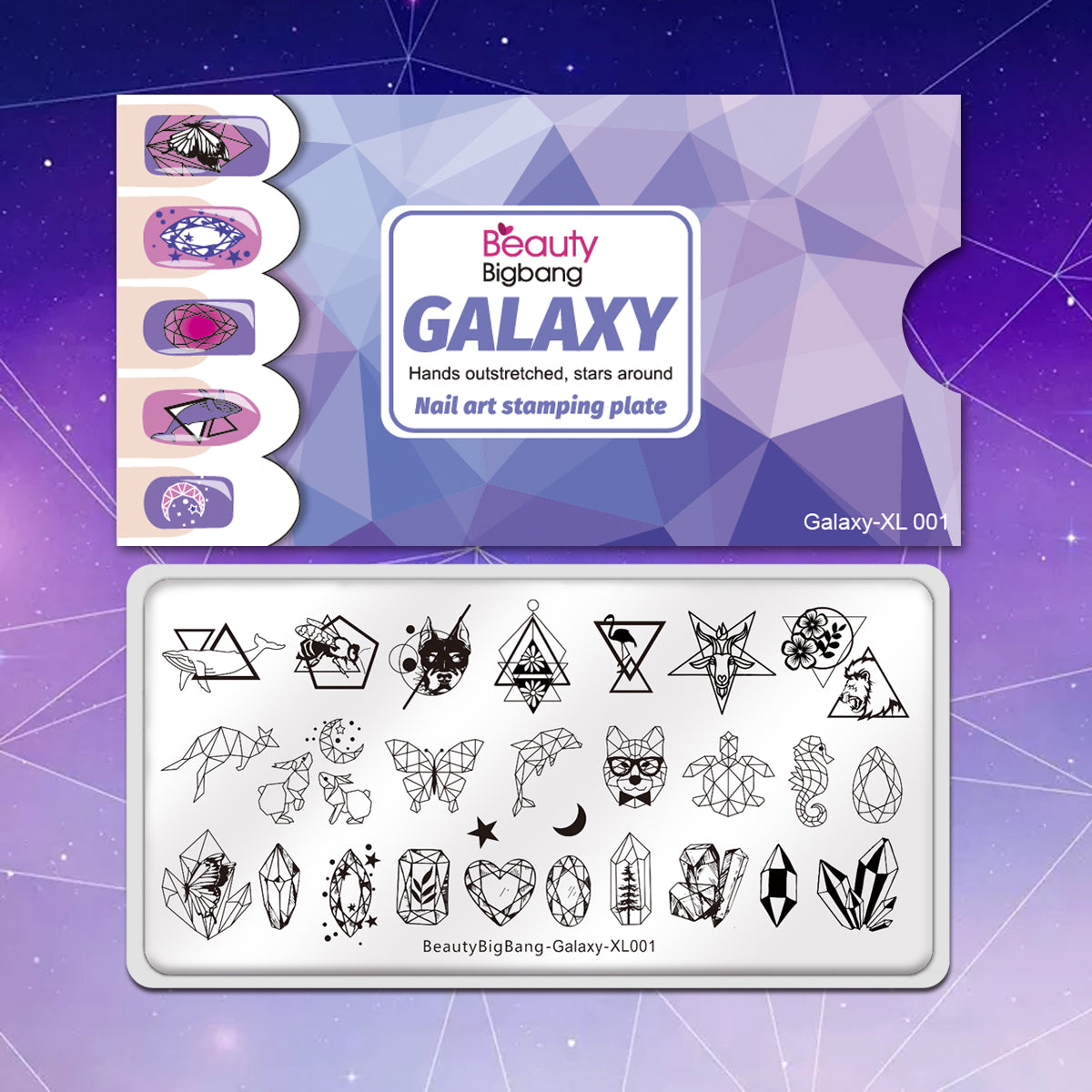 Galaxy Geometric Moon Star Rectangle Stainless Steel Stamping Plate Te Beautybigbang