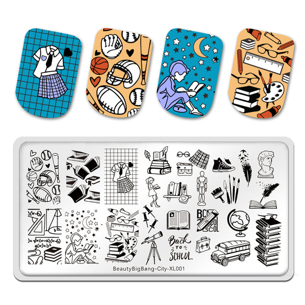 City School Book Learning Stationery Math Image Stamp Manicure Printing Stencil Tools BeautyBigBang BBBXL-001