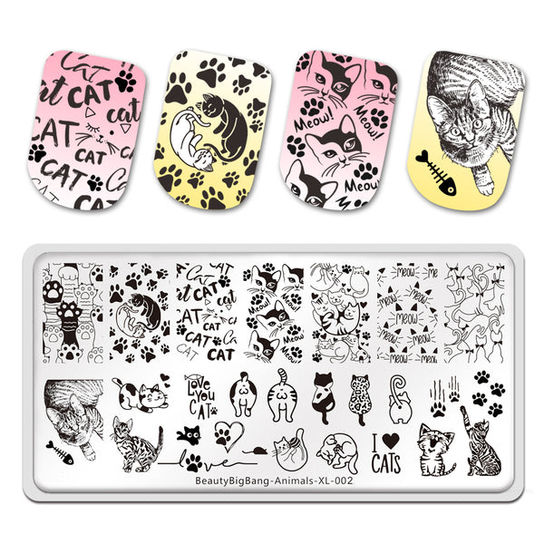 Cute Cats Animals Stainless Steel Template Nail Art Image Stencil DIY Plate Tools BeautyBigBang BBBXL-002