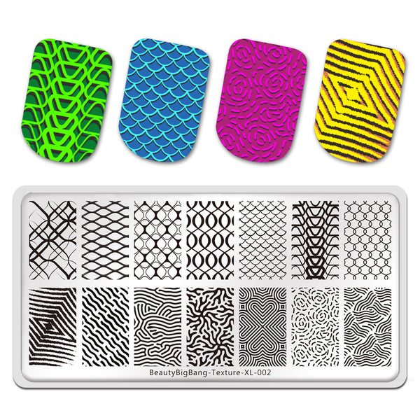 Texture Line Net Dot Circles Pictures Nail Art Plate Stainless Steel Design Stamp Template for Printing Stencil Tools BeautyBigBang BBBXL-002