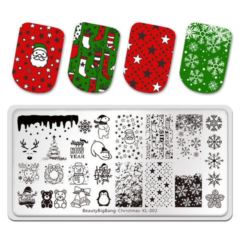 Christmas Tree  Winter Theme Snowman Image Nail Art Stamp Stencil for DIY Manicuring Marry Christmas Theme BeautyBigBang BBBXL-002