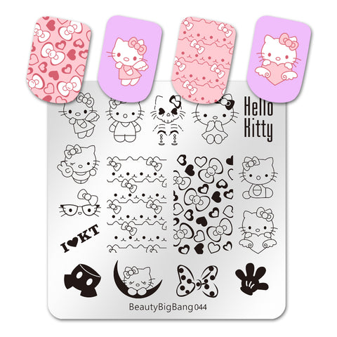 Cartoon Kitty Cute Cat Nail Art Plate Stainless Steel Design Stamp Template for Printing Stencil Tools BeautyBigBang BBBS-044