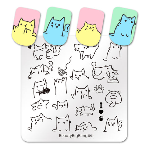 Cute Cats Stainless Steel Template Nail Art Image Stencil Animal DIY Plate Tools BeautyBigBang BBBS-041