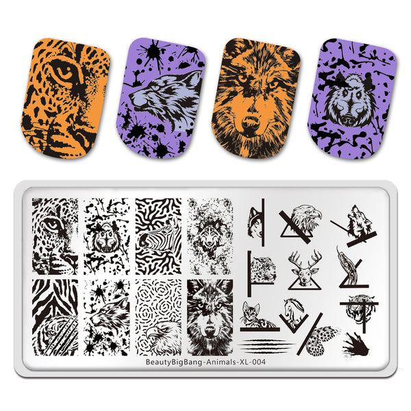 Natural Animal Stripe Wolf Butterfly Theme Image Template Mold Nail Art Stamping BeautyBigBang BBBXL-004