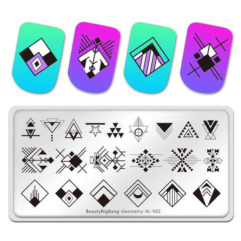Geometry Lines Square Image Nail Art Stamp Stencils Stainless Steel Stamp Template Manicure Tools BeautyBigBang BBBXL-002