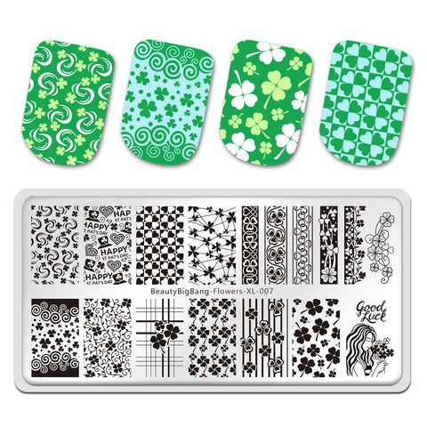 St. Patrick's Day Four-leaf clover Theme Flowers Manicure Nail Art Image Template Manicure Stencils Tool BeautyBigBang BBBXL-007