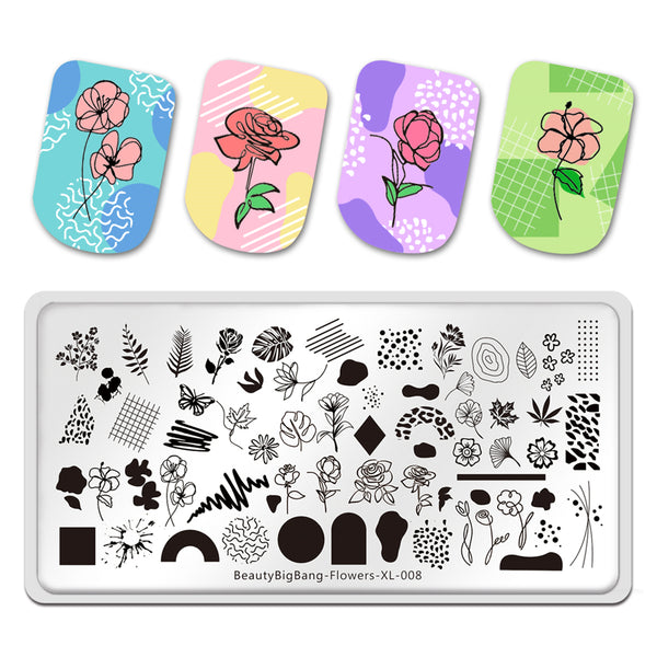 Flowers Rose Leaves Lines Manicure Nail Art Image Template Manicure Stencils Tool Nail Stamping BBBXL-008