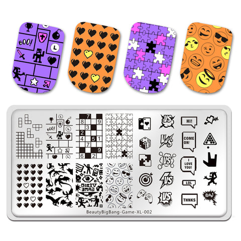 Game Diamond Smiling Face Manicure Nail Art Image Template Manicure Stencils Tool Nail Stamping BBBXL-002
