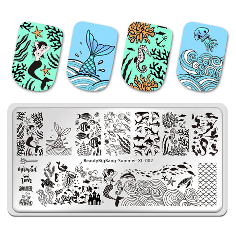 Summer Fish Design Image Printing Plates Stencil Stamp Tools BBBXL-002