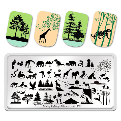 Animal Silhouette Design Image Printing Plates Stencil Stamp Tools BBBXL-002