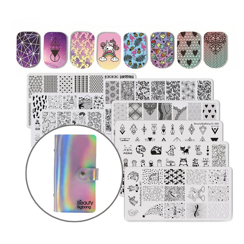 Beautybigbang 8PCS Nail Art Stamping Plates Set Image Template Stencils Unicorn Flamingo Pattern with Holo Stamping Plates Holder Case Organizer