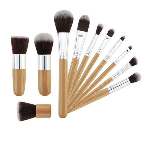 11Pcs Wooden Handle Makeup Brush Kit Cosmetic Concealer Blush  Foundation Brush