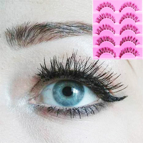 5Pairs Criss-Cross False Eyelashes Faux Eye Lashes For Makeup