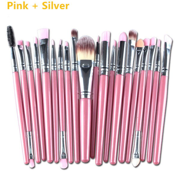 20Pcs Eyeshadow Makeup Brush Set Blusher Foundation Cosmetic Brushes