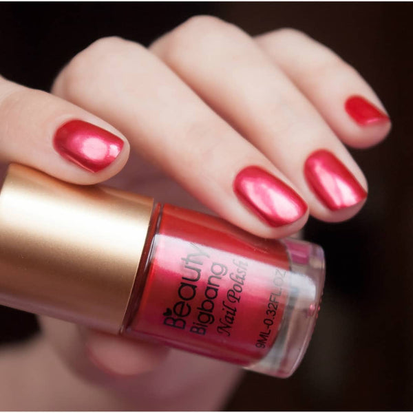 9ML Red Metallic Lacquer Nail Polish Mirror Effect Nail Varnish 005