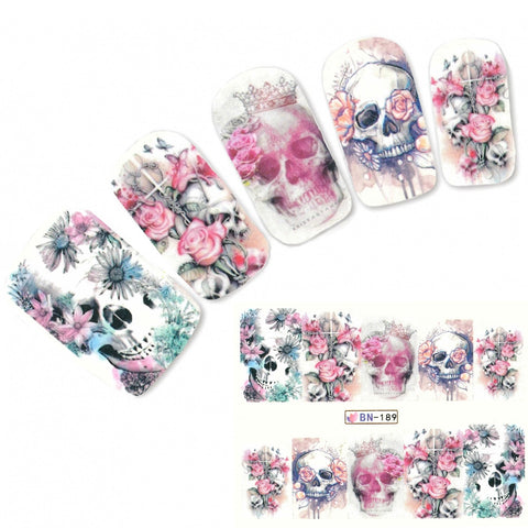 Skull Nail Water Decals Floral Rose Nail Sticker Accessory