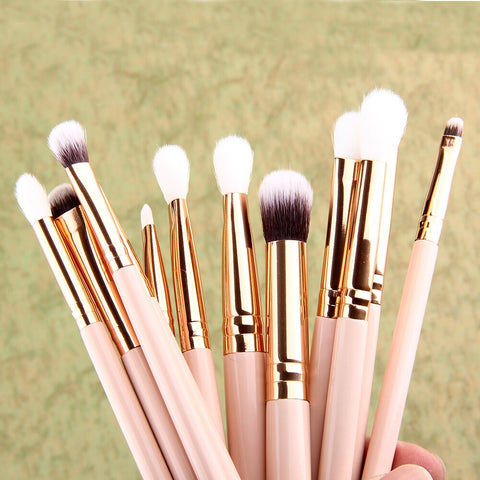 12Pcs Cosmetic Brushes Kit Eyeshadow Eyebrow Lip Makeup Brushes Tool