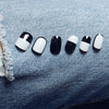 24Pcs/Box French Black & Grey False Nail Tips