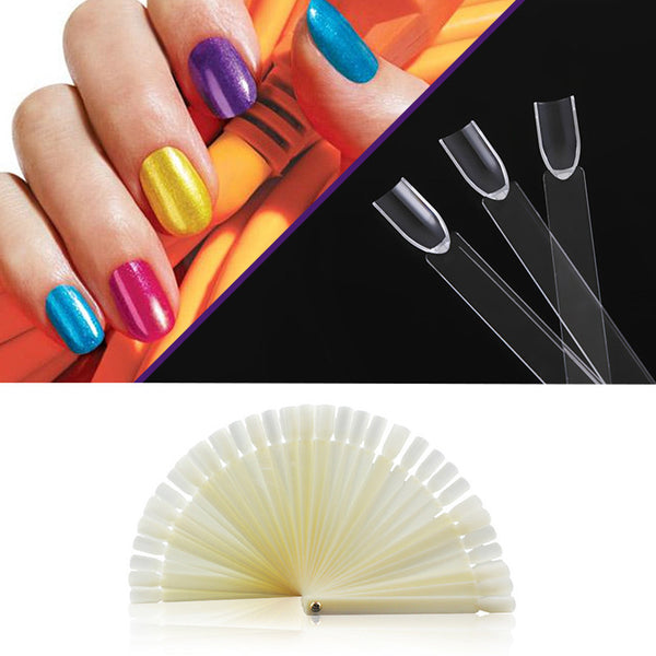 50Pcs Nail Art Tips Sticks Polish Display Fan Wheel Practice DIY Nail Art Tool