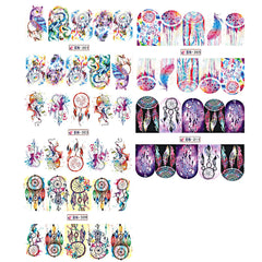 Owl Feather Nail Sticker Water Transfer Decals Sticker Dreamcatcher Nail Wraps