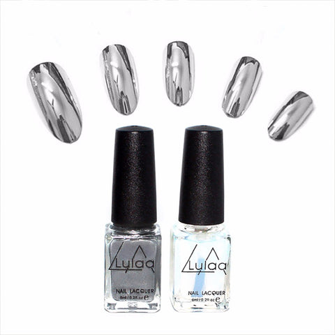 Silver Metallic Mirror Nail Polish Chrome Varnish & Base Coat Nail Polish Set
