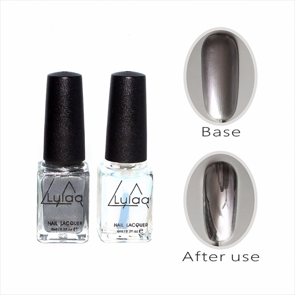Silver Metallic Mirror Nail Polish Chrome Varnish & Base Coat Nail ...