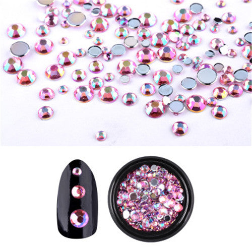 Pink Mixed Sizes Nail Stickers Crystal AB Rhinestones Diamonds Decoration