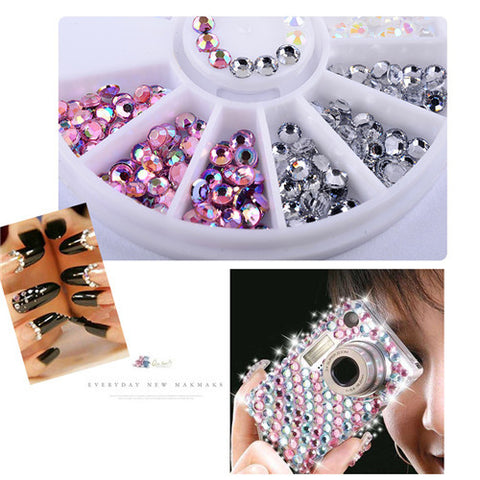 Round Nail Rhinestones Wheel Crystals Glitter Beads Nail Decoration