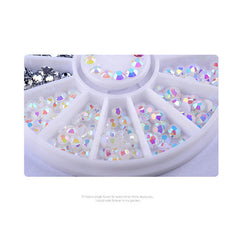 3D Round AB Rhinestone Crystal Glitter Bead Pearl Wheel Nail Jewelry Decoration