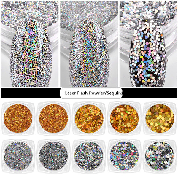 Laser Flash Nail Glitter Powder Holographic Nail Sequins Nail Art Decoration