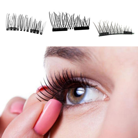 1Pair 3D Double Magnetic Natural False Eyelashes For Eye Makeup