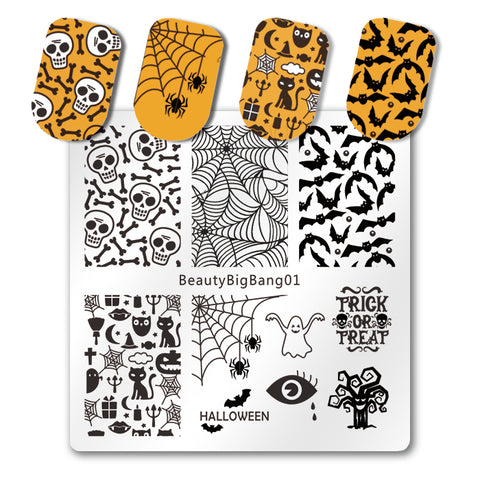Halloween Bat Nail Art Stamping Plate Spider Cobweb Skull Theme For Manicure