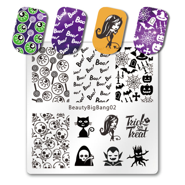 Halloween Ghost Nail Art Stamping Plate Skull Cat Pumpkin Pattern For Manicure