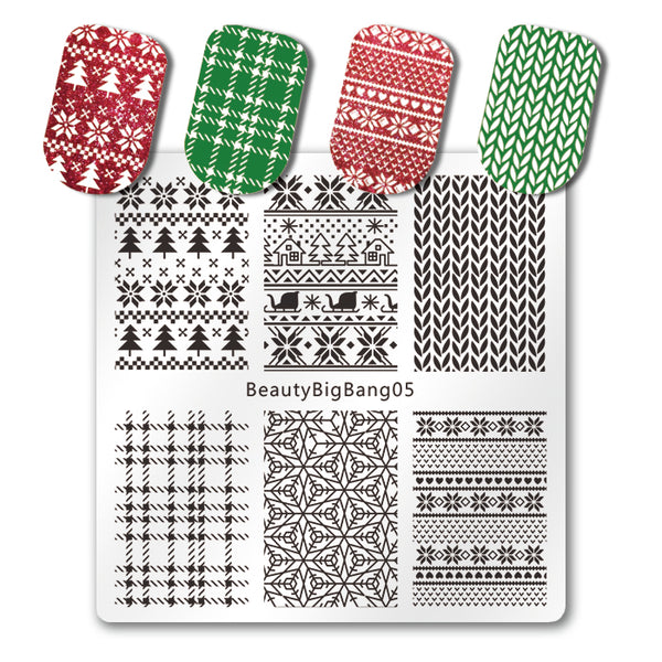 Christmas Nail Stamping Plate Xmas Winter Tartan Knitted Pattern For Manicure