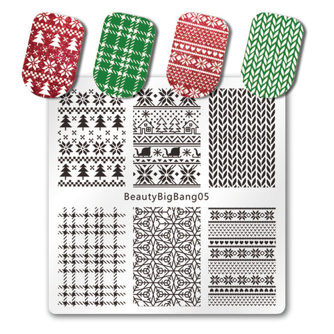 Xmas Winter Nail Stamping Plate Christmas Tartan Knitted Pattern For Manicure