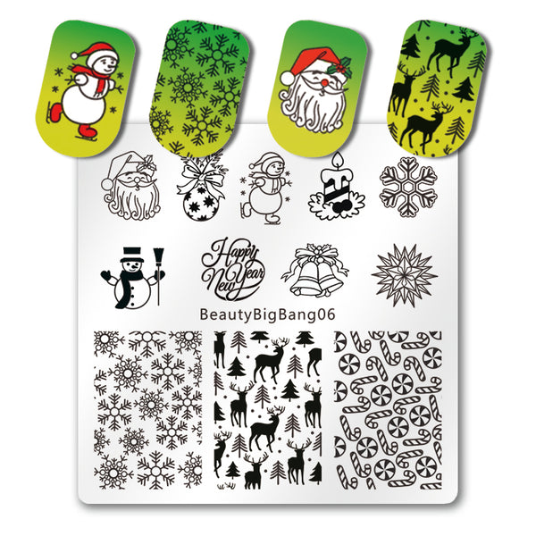 Christmas Nail Stamping Plate Xmas Deer Snowflake Snowman Holly Pattern For Manicure