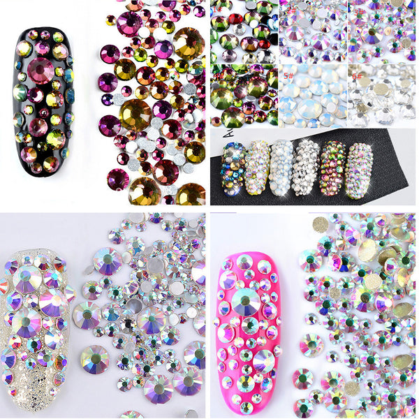 Colorful Flatback Rhinestone Crystal Mixed Size Manicure Nail Decorations