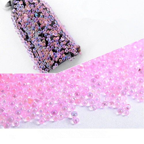 Pink Glass Symphony AB Beads Transparent Nail Art Decorations