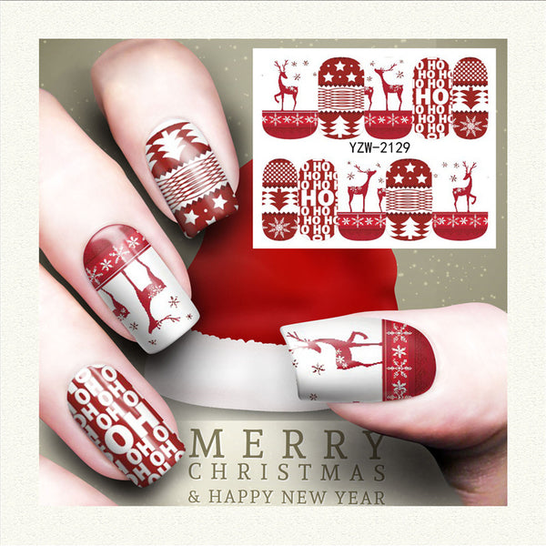 Christmas Nail Art Stickers Deer Holly Nail Water Decals
